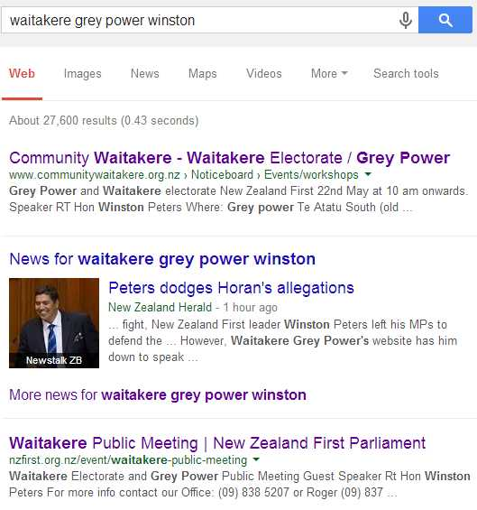 Waitakere Grey Power search
