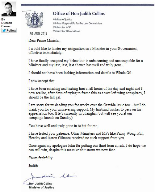 Collins hoax resignation letter | Your NZ