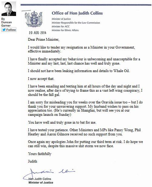 Collins hoax resignation letter