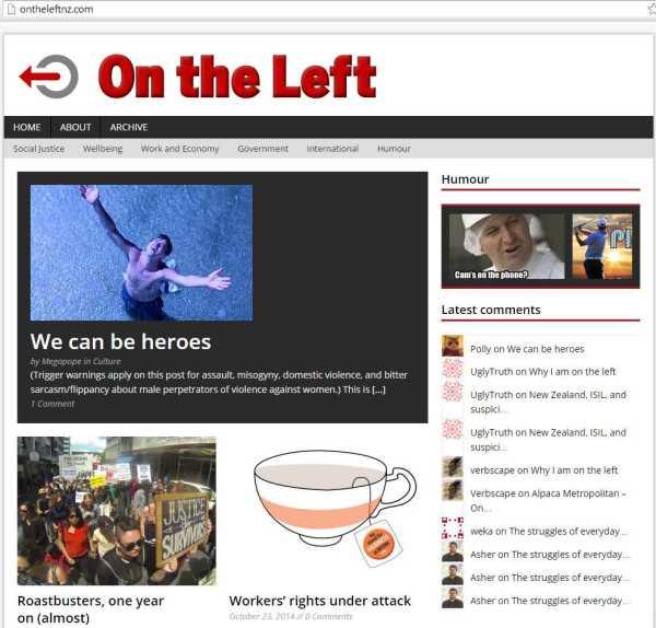 OnTheLeft front page