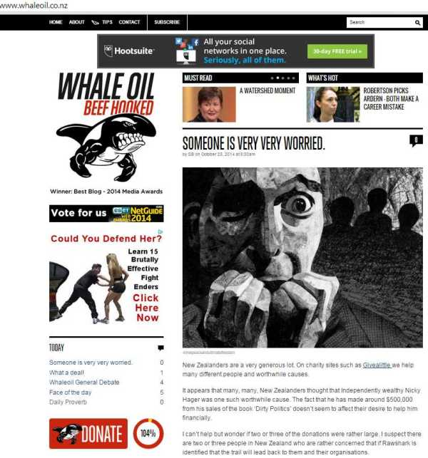 Whale Oil home page