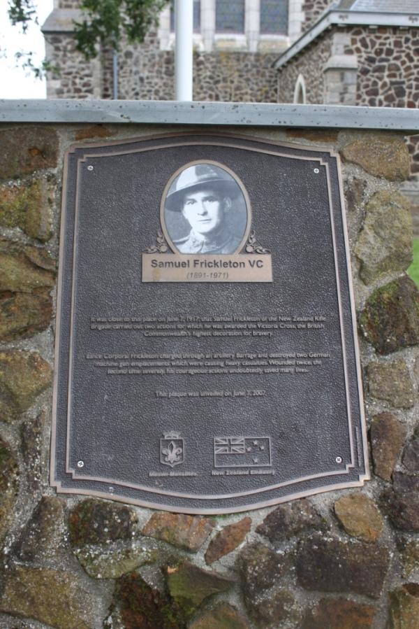 Samuel Frickleton VC memorial Messines